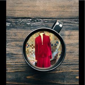 Cato 2 piece red velour pant suit