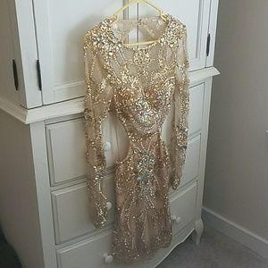 Jovani Short Open-Back Gold Pagent Dress