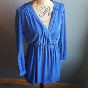 Honey Punch Blue Low Cut Dress