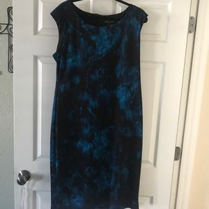 Connected apparel blue and black dress