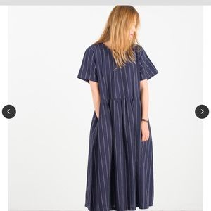 Pin strip around neck long dress- navy