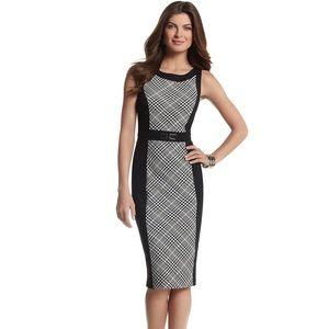 WHBM NWOT Glen plaid colorblock sheath dress