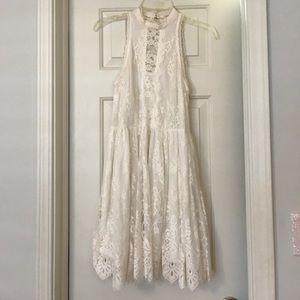 Free People Lace High Neck White Dress