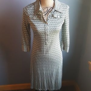 Banana Republic Geometric Print Long Sleeve Dress
