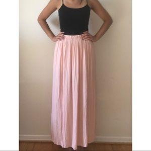 Cream pink double slit maxi skirt Forever 21