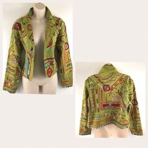 Chicos Embroidered Open Front Blazer Jacket