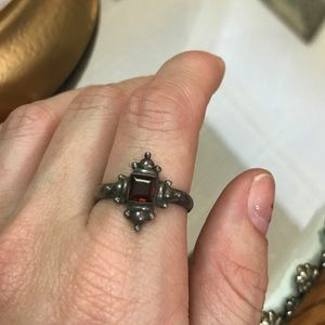 Vintage Sterling Silver Red Cross Ring