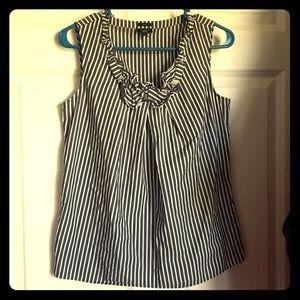 Talbots sleeveless black and white striped top