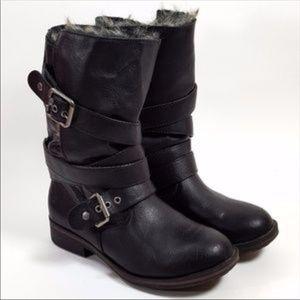 Justfab Black Faux Fur Lined Moto Boots