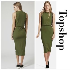 Midi Green Cut Out Sleeveless Dress