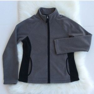 Merona Gray and Black Full Zipper Fleece Jacket