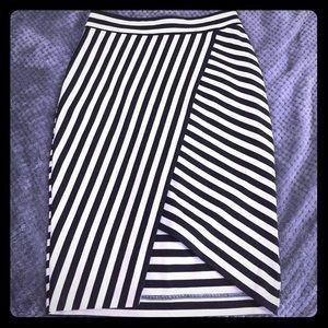 Express striped pencil skirt