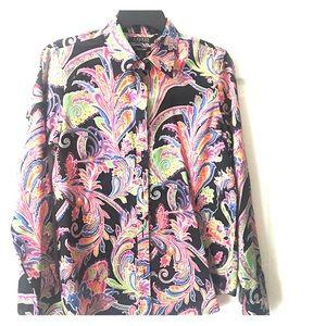 Lauren black paisley blouse