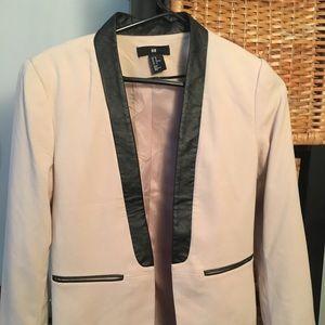H&M faux leather trim blazer