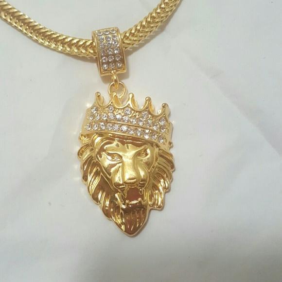 fca35fd31a683 Men's Gold Crown Lion King Pendant w/Chain Boutique