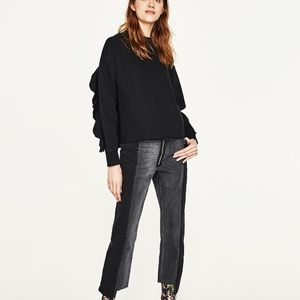 Zara black denim sweatshirt with frills