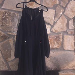 Black Dress with Cut-Out Long Sleeves