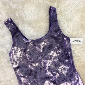 NWT F21 Purple/Gold Velvet Bodycon Dress