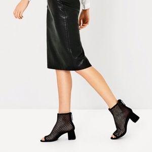 Zara Black High Heel Mesh Ankle Boots