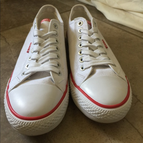 45ae1156bdff Converse Shoes - New Levi s White Canvas Sneakers (Converse-Style)