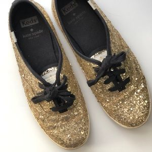 ✨Kate Spade x Keds Glitter Gold Sneakers✨