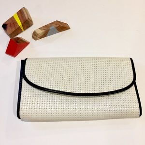 Vintage Black and White Clutch with Shoulder Strap