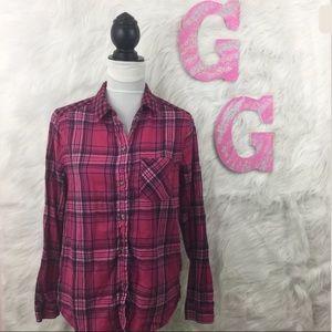 American Eagle Boyfriend Shirt Pink Plaid Shirt