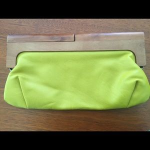 Melie Bianco Mustard Clutch with wooden handles