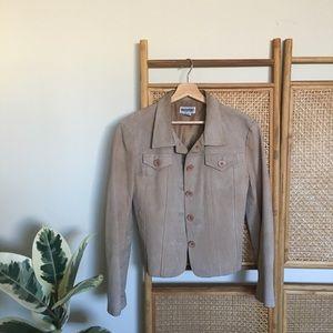 🌹 Western Beige Vintage Leather Jacket