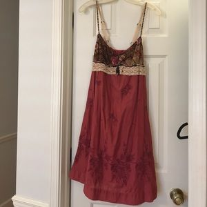 Free People Embroidered Magenta Dress