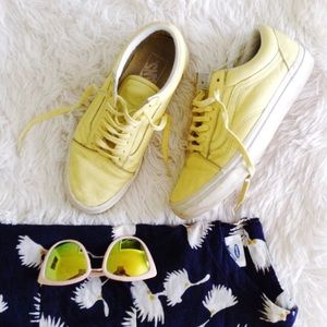 VANS yellow leather old skool low top sneakers
