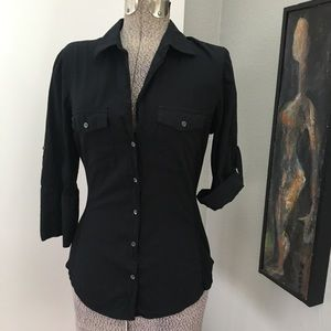 JAMES PERSE Cotton Side Panel Collared Shirt