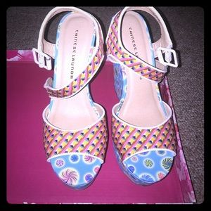Chinese Laundry Jollypop blue multi wedge