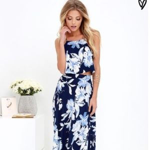 NAVY BLUE FLORAL PRINT TWO-PIECE MAXI DRESS