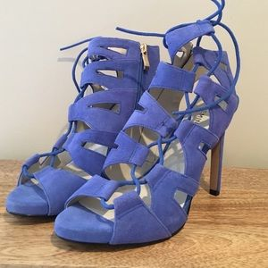 New Shoemint Blue Suede Cutout Lace Up Heels 7.5