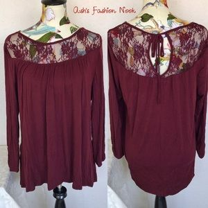 💠Just in💠 Maurices-Burgundy With Lace Blouse