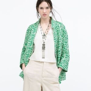 Zara Green Jacquard Jacket