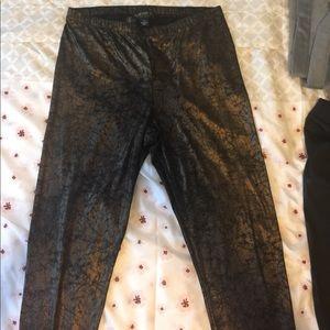Forever21+ bronze Metallic leggings