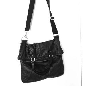 Black faux leather fold purse