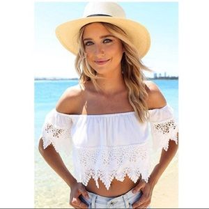White Bohemian Lace Crochet Off The Shoulder Top