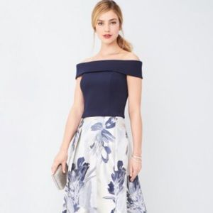 Eliza J navy off shoulder Ball skirt and top