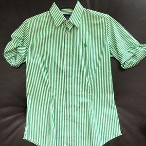 NWOT Ralph Lauren Stripped Green Button Down Shirt