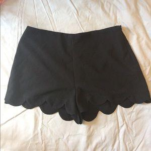 Black High Waisted Scalloped Shorts