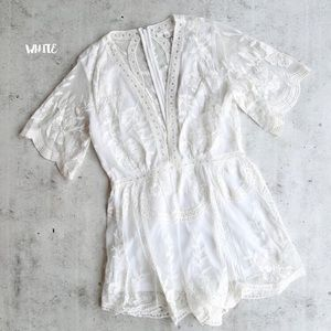 Pants - White Lace Embroidered Mesh Short Sleeve Romper