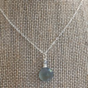 Bluegrey chalcedony simple drop necklace sterling