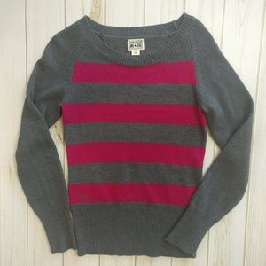 Converse Boat Neck Pink & Gray Striped Sweater