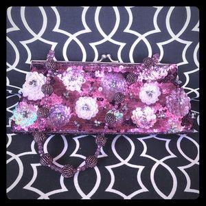 Far Nine purple sequin beaded handbag