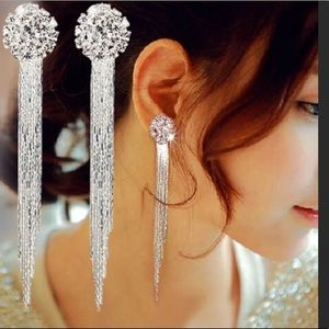 GORGEOUS LONG DIAMOND EARRINGS