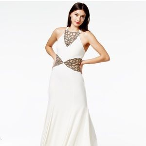 White formal gown with silver beading