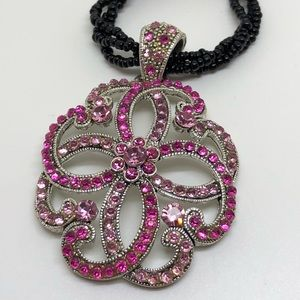 🆕Silver & Bright Pink Rhinestone Pendant Necklace